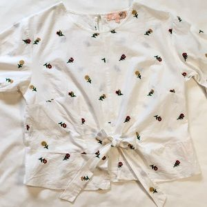 Cotton Flower Embroidered Bell Sleeves Bow White